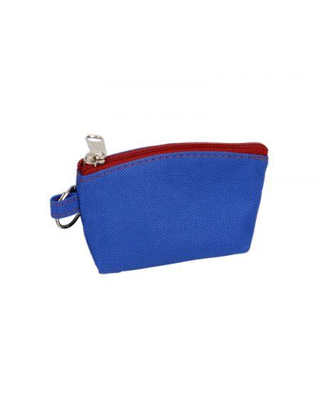 Porta niquel chaveiro em poliester 600 na cor azul royal e ziper vermelho