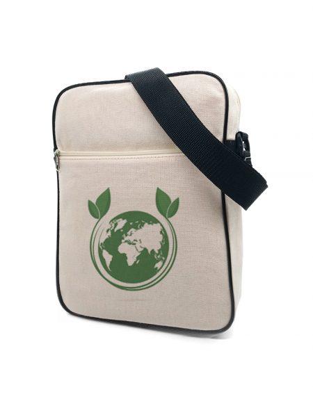 Bolsa carteiro HB G em lona de algodão cru com bolso frontal linha ecologica