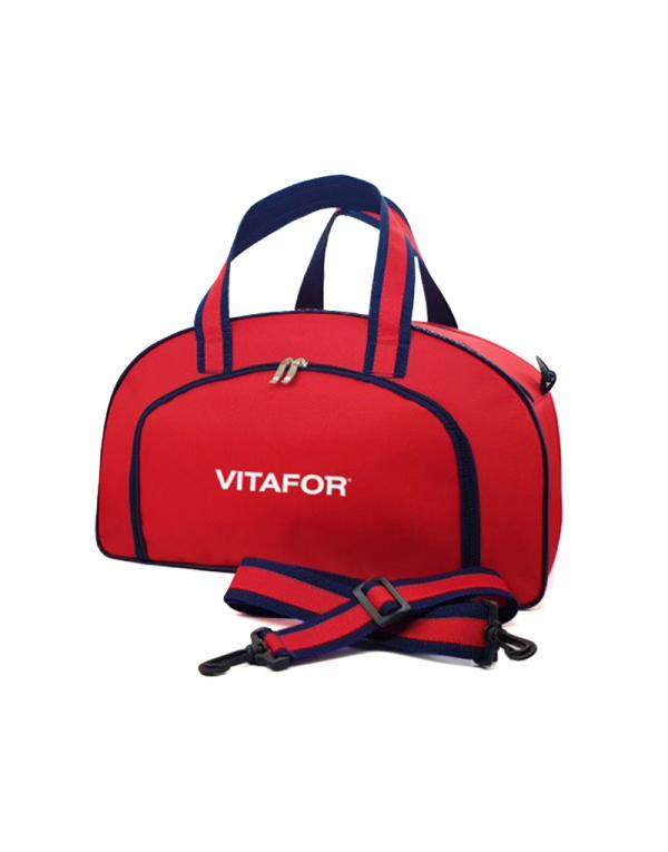 mala ideal para final de semana ou viagens curtas possui bolso frontl produzida em polieste 600 vermelho com detalhes azul marinho