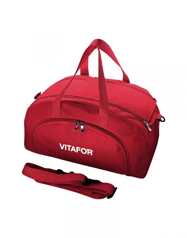Mala em diagonal produzida em poliester 600 vermelho e poliester 600 vermelho possui abertura dupla e bolso frontal além de alça de mao e transversal ideal para viagens curtas