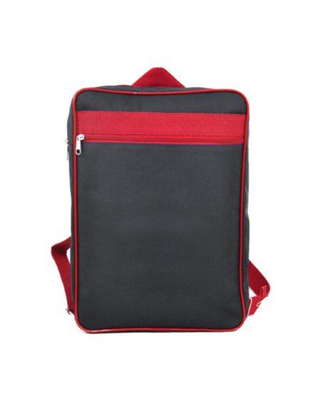 mochila escolar em poliester azul marinho com detalhes vermelho