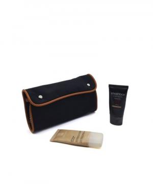 Necessaire para maquiagem com bolso interno 2 um em material e outro em tela cor preto com detalhe sintetico havana