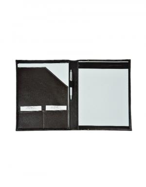 Pasta convenção material principal sintetico preto com detalhes sintetico preto acompanha bloco e canetas foto peça aberta