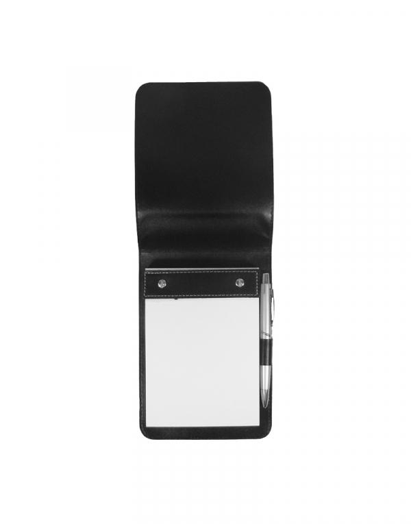 Porta Bloco BXT produzido em sintético preto acompanha caneta e bloco foto aberta