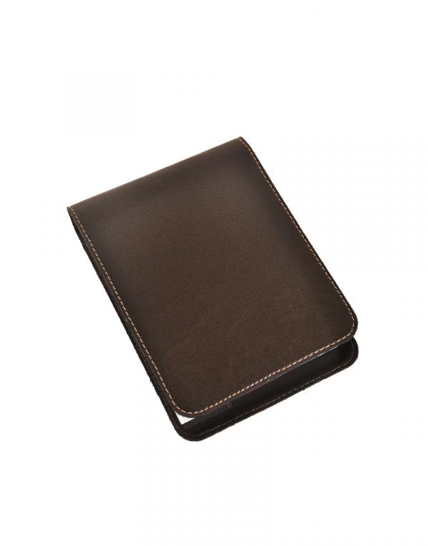 Porta Bloco BXT produzido em sintético marrom acompanha caneta e bloco