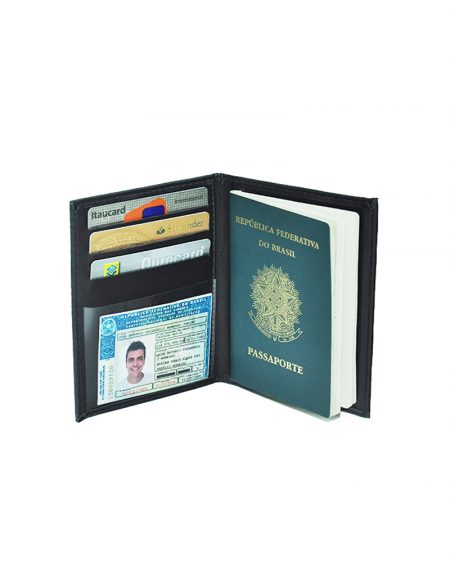 Porta passaporte pequeno produzido em material sintético preto possui 3 porta cartões porta cnh e porta passaporte alem de um porta notas