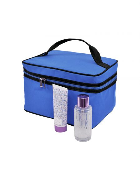 Frasqueira em poliester azul royal foto com produtos com detalhe azul roya