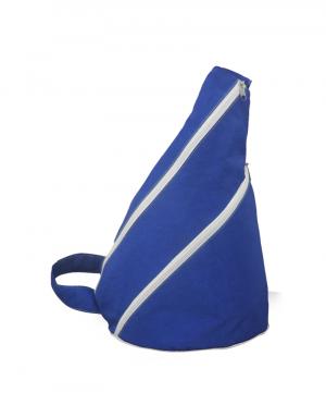 Mochila poliester 400 amassado Azul royal com detalhes branco alça diagonal