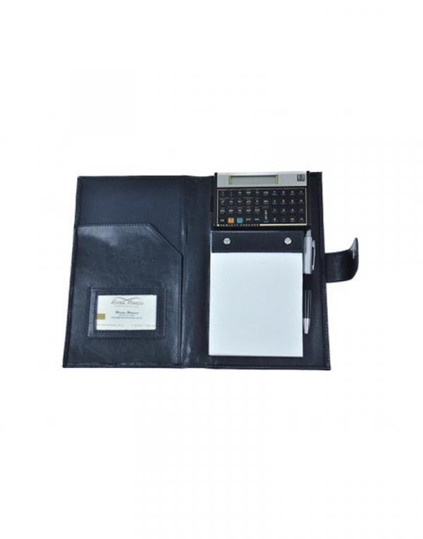 Porta Bloco tipo pasta avberta com compartimento para calculadora, bloco cartao e bolso