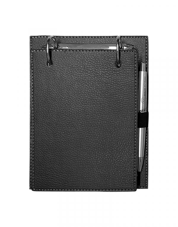 Porta Bloco produzido em sintético preto foto fechada acompanha caneta e bloco