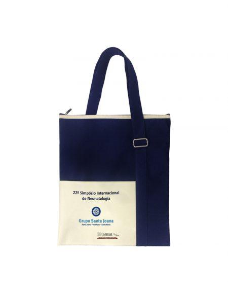 bolsa transversal em poliester azul marinho e detalhes poliester 600 cru