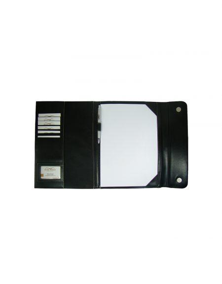 Phasta convenção delman em sintetico preto com detalhes em sintetico preto fechamento com botao magnetico acompanha caneta e folhas a4 tem porta cartao e porta caneta foto aberta