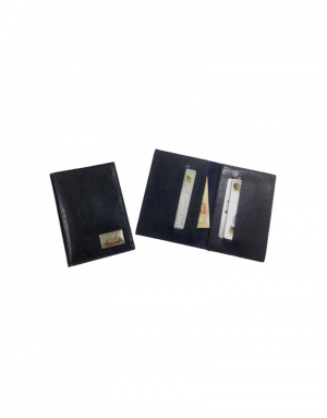 Carteira FSH produzida em sintético preto foto aberta demonstrando compartimentos com itens porta 03 cartões e dois compartimentos para notas
