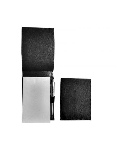 Porta bloco pap produzido em sintético preto acompanha bloco e caneta foto aberta e fechado