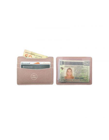 Carteira slim em material sintético prada rose foto frente e verso com porta cnh e cristal porta notas e dois porta cartões