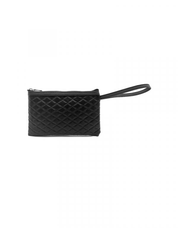 Mini bag sintetico matelasse preto com detalhes em liso preto