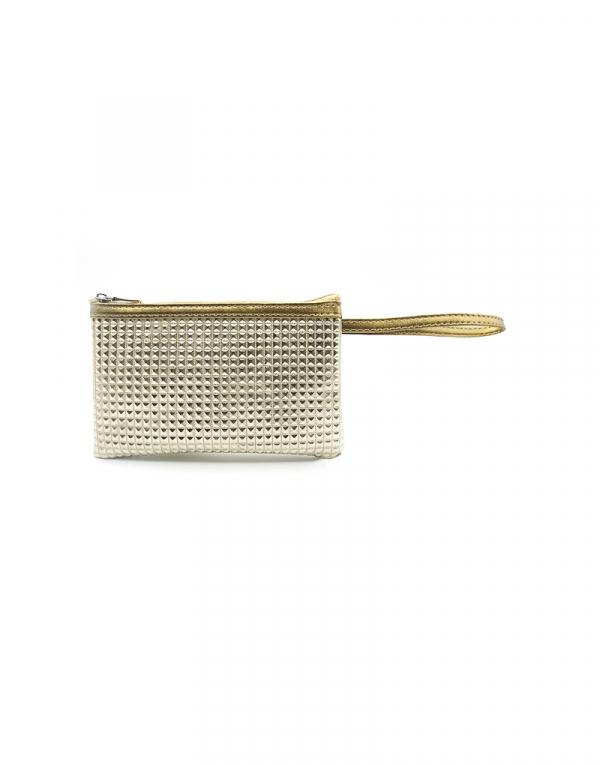 minibag dourada com detalhes e alça liso dourado