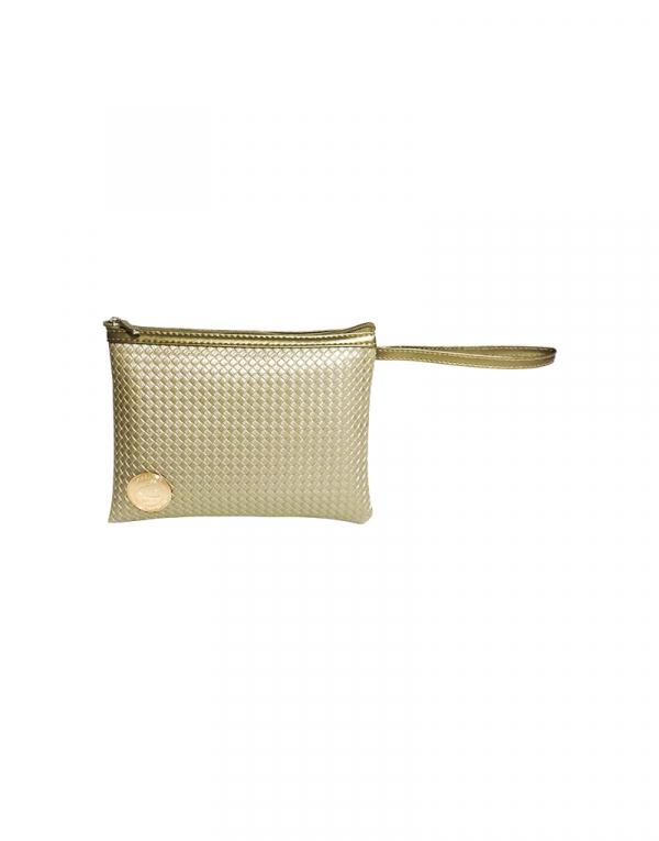 minibag G em dourado claro e detalhes em sintetico liso dourado