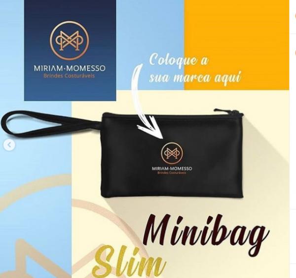 Minibag poliéster preto com arte