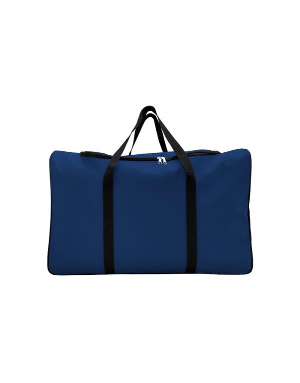 mala com tamanho muito grande sem forro com abertura em U poliestes 600 na cor azul marinho com alças preta