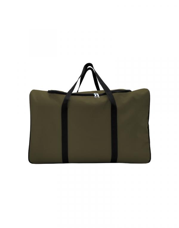 mala com tamanho muito grande sem forro com abertura em U poliestes 600 na cor verde musgo
