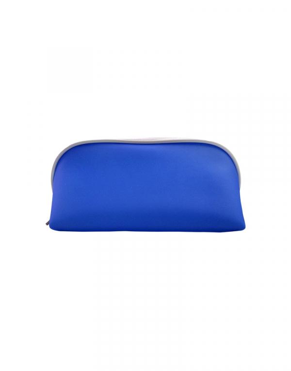 Necessaire fachini material silicone azul royal e vivo branco