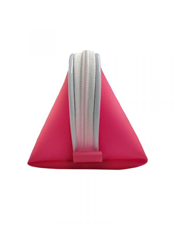 Necessaire fachini material silicone pink e vivo branco foto lateral