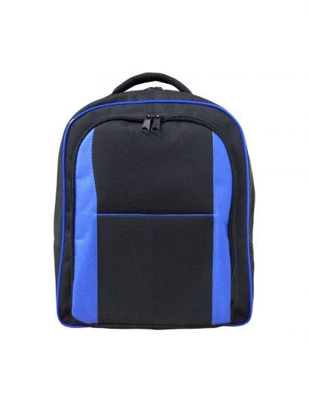 Mochila em poliester 600 preto e detalhes em poliester azul royal possui duas aberturas e mais um bolso externo