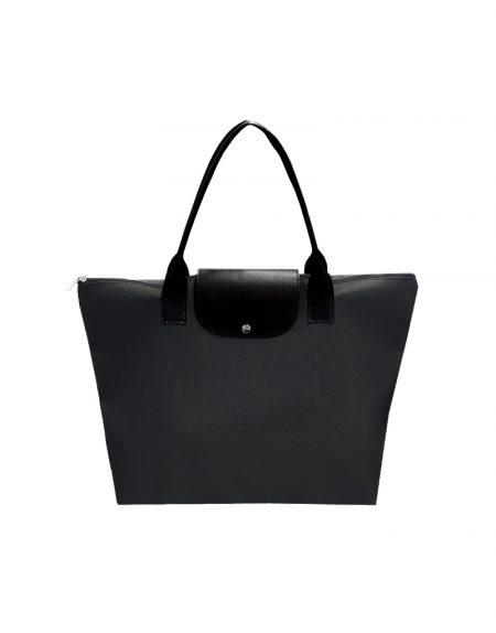 Bolsa trip poliester 600 preto e detalhes em sintetico preto com medalha tipo chaveiro, bolsa dobravel