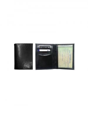 Porta documento de carro produzido em material sintético preto possui porta documento de carro em cristal e porta cartões e uma abertura lateral foto aberta e fechada