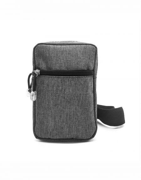 Bag tansversal em poliester mescla cinza com detalhes em preto
