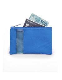 uma necessaire azul com dinheiro